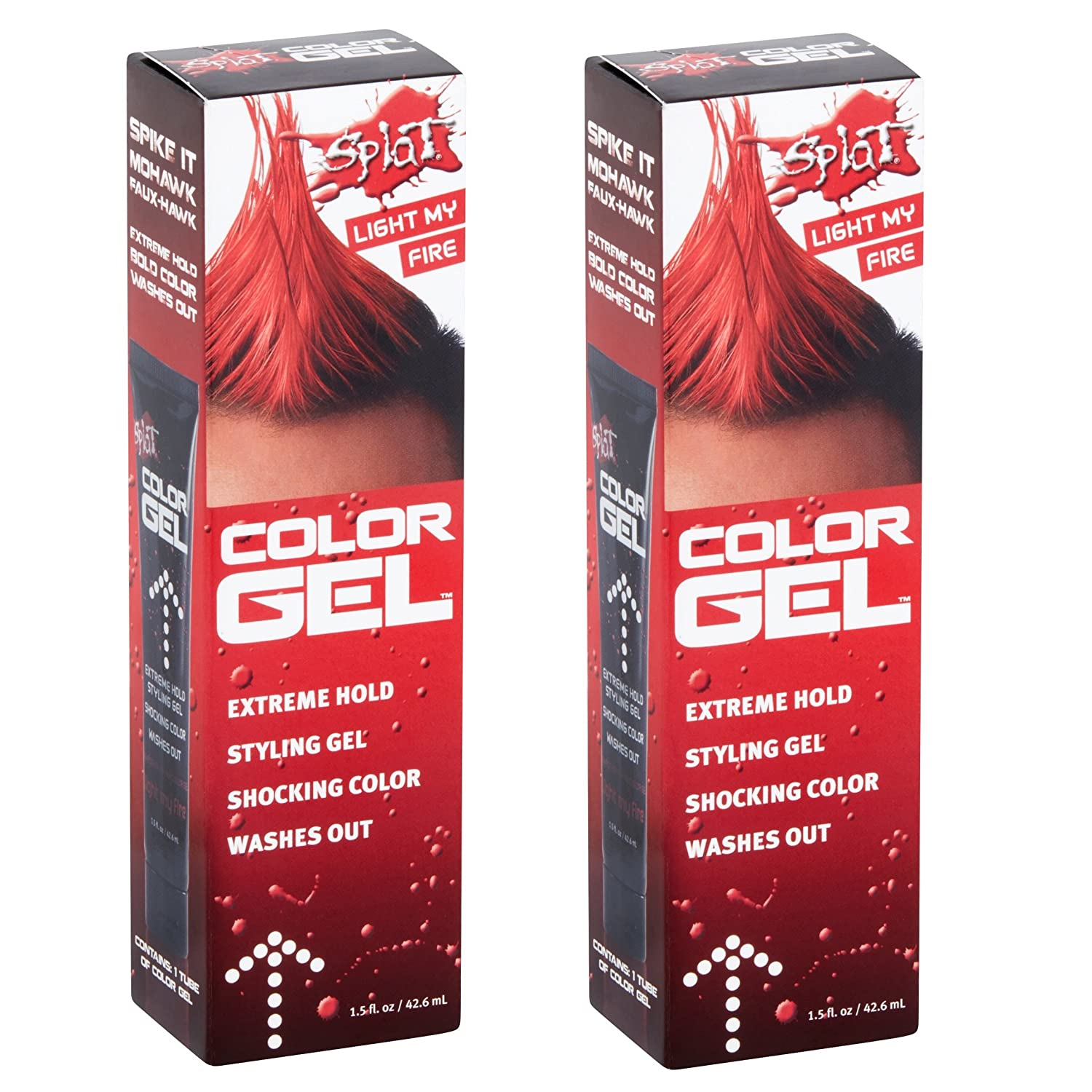 (2 Pack) Splat Shocking Color, Extreme Hold Styling Gel, Light My Fire, 1.5 Oz.