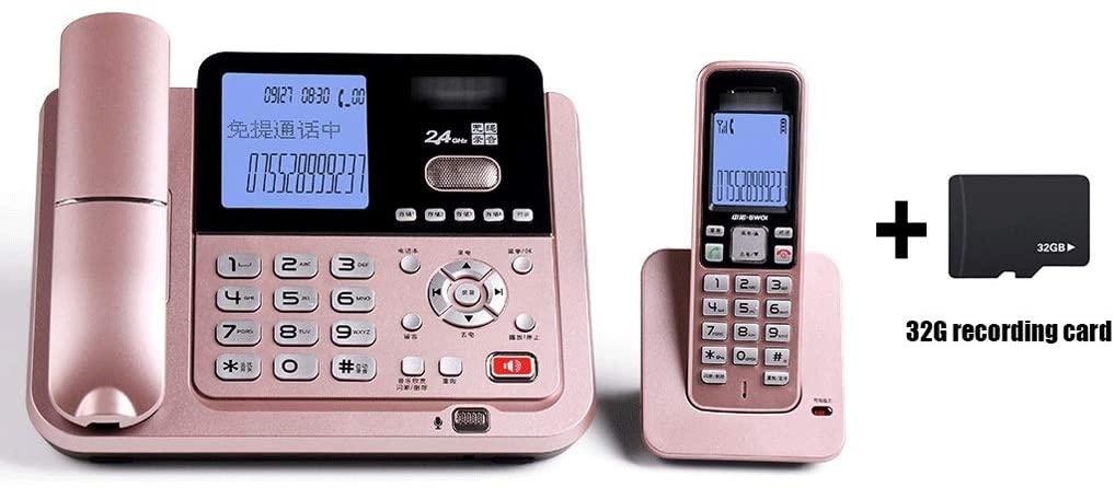 F&W WF Recording Telephone, Telephone, answering Machine, Digital Cordless Telephone, Smart Wireless Fixed Telephone landline (Color : Rose Gold)