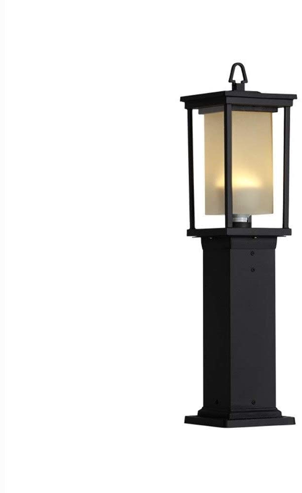 WHYA IP33 Waterproof Lantern Vintage Post Bollard Light Rainproof Antirust Aluminum Metal High Pole Street Lawn Lamp Column Lamp Glass Garden Patio Landscape Lighting E27 Engineering Lights