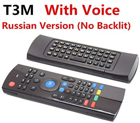Calvas MX3 Backlit Air Mouse Russian T3 Smart Voice Remote Control T3M 2.4G RF Wireless Keyboard For X96 KM9 A95X MAX Android TV Box - (Color: T3M Voice(Russian))
