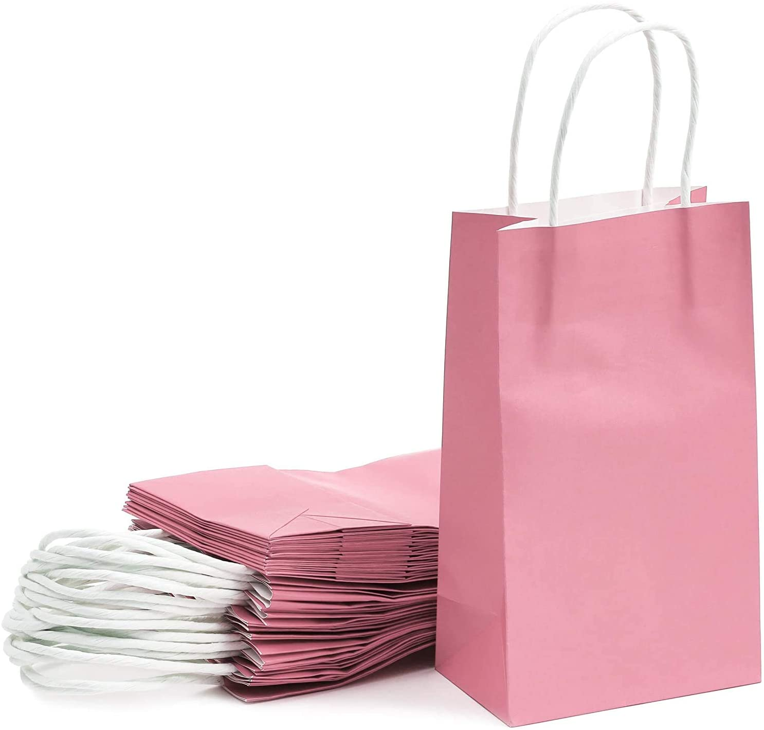 Paper Party Gift Bags with Handles (9 x 5.3 in, Pink, 25-Pack)
