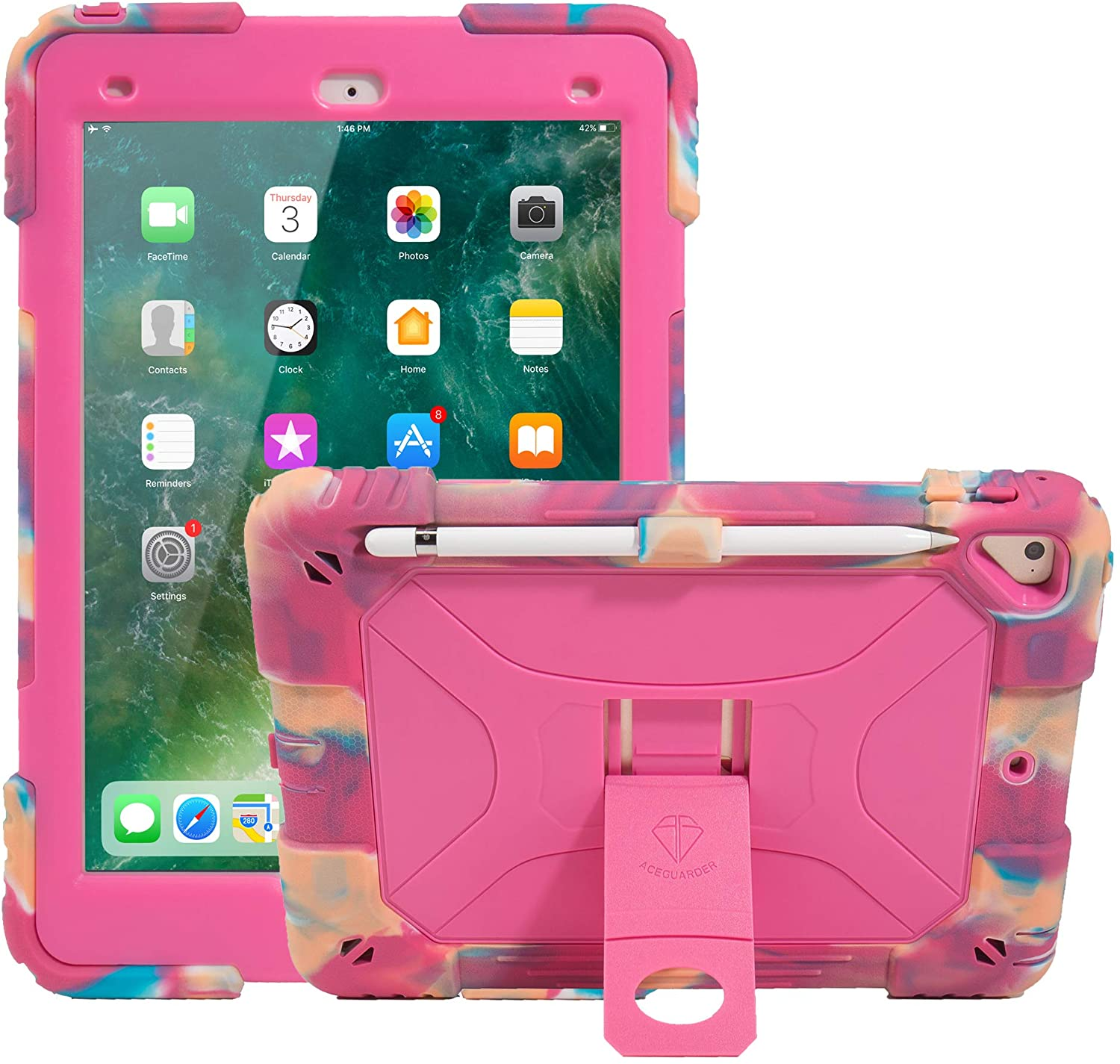 ACEGUARDER iPad 9.7 Case iPad 2018/2017 iPad 9.7 inch Soft Silicone Protective Case Shockproof Rugged Drop Protection Cover Built with Kickstand (Rainbow)