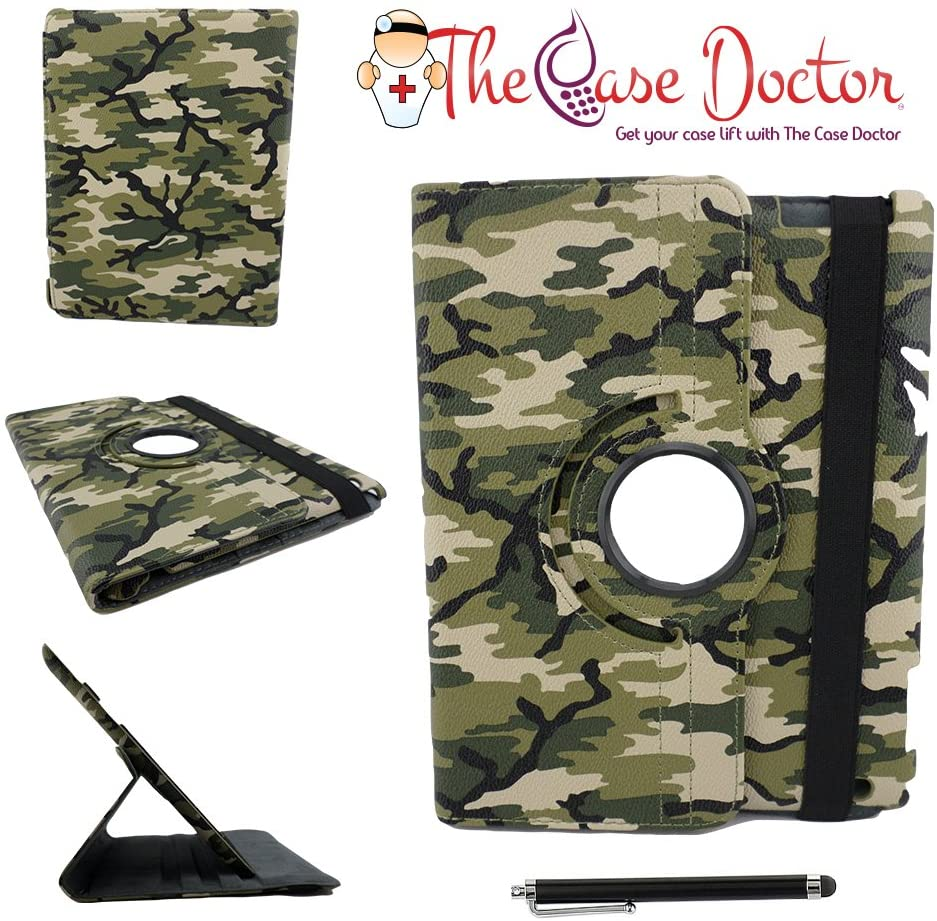TCD - Apple iPad Mini 4th Generation Camouflage Rotating Leather Kickstand Cover Case - Green