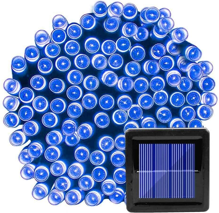 1 Set 10M 100 LED Solar Powered Rope Tube String Fairy Lights Outdoor Garden Xmas Lamp Blue Light