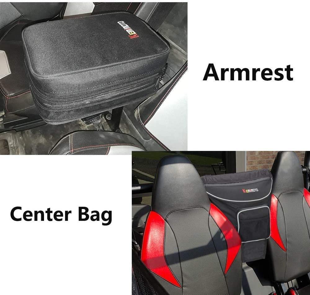 KEMIMOTO UTV Cab Pack Center Storage Bag N Armrest for Polaris RZR 800 900/900 S / 1000/1000 S / 1000 XP/XP 1000 Turbo