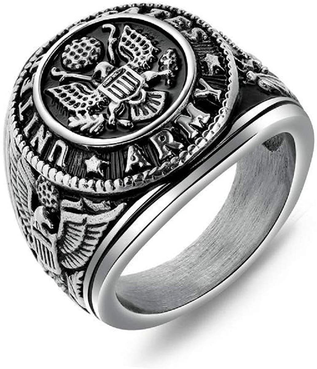 Men's Stainless Steel Domineering Vintage US Military Army Ring Eagle Medal Rings For Men Retro Punk Badge Eagle Ring Men Vintage Jewelry Gift For Boys Husband Father's Day Accessories