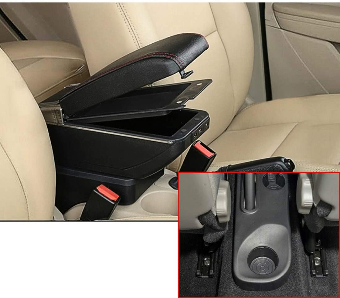 SLONG for Renault Kaptur Captur QM3 14-18 High-End Car Armrest Center Console Accessories with 7 USB Charging Port Cup Holder Removable Ashtray Black