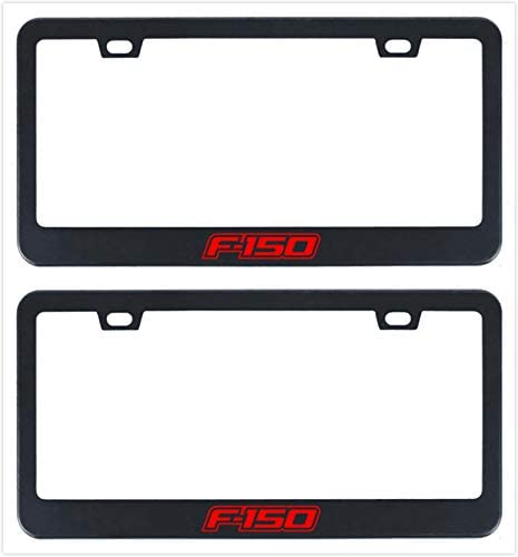 Minigo 2X Stainless Steel F150 License Plate Frame Rust Free with Bolt Caps for Ford Cover (2-Black)