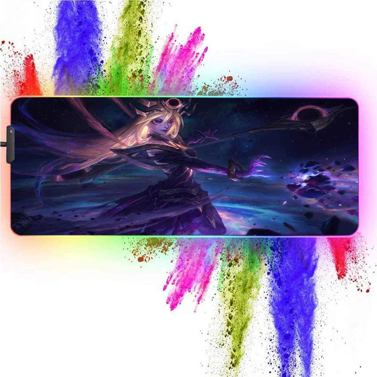 RGB Mouse Pad Large for League of Legends-Dak Cosmic Lux,12 Lighting Modes,Waterproof,Nonskid Rubber Base,Glowing Led Keyboard and Mouse Combo Mouse Mat,Desk Pad 15.7X35.4 Inch