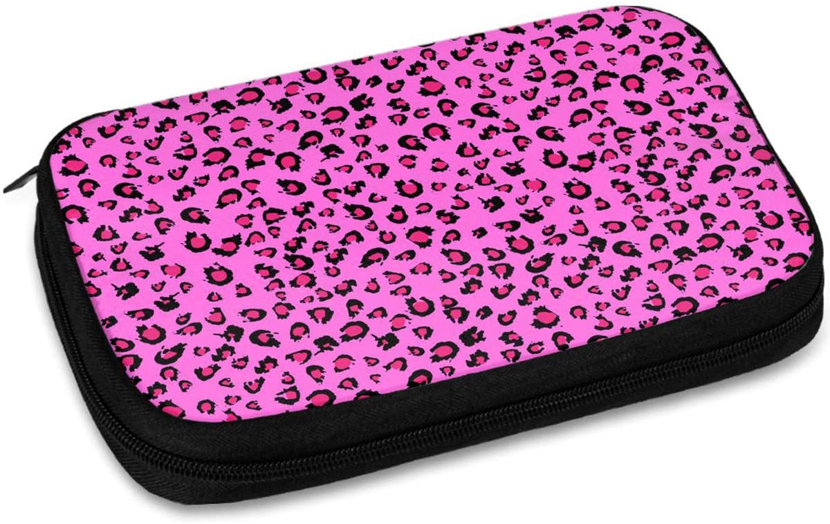 Electronic Organizer Case Pink Leopard Print Small Travel Home Universal Bag Cable Electronics Accessories Cases for Women Cable,Charger,Phone,USB,Sd Card