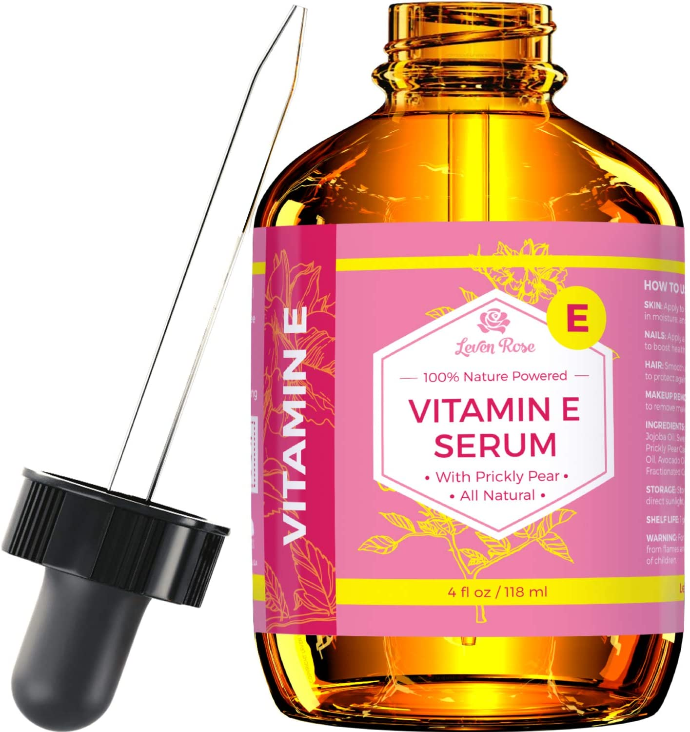 Vitamin E Serum by Leven Rose 100% Pure Organic All Natural Face, Dry Skin & Body Moisturizer Treatment, Hair & Nail Growth Oil, Pure Makeup Remover, Acne Cleansing Oil Large 4 oz