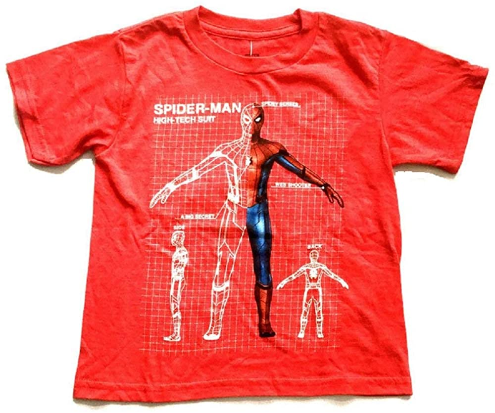Marvel Boys Shirt Spiderman High Tech Suit Glows in The Dark Red Heather Short Sleeve Tee