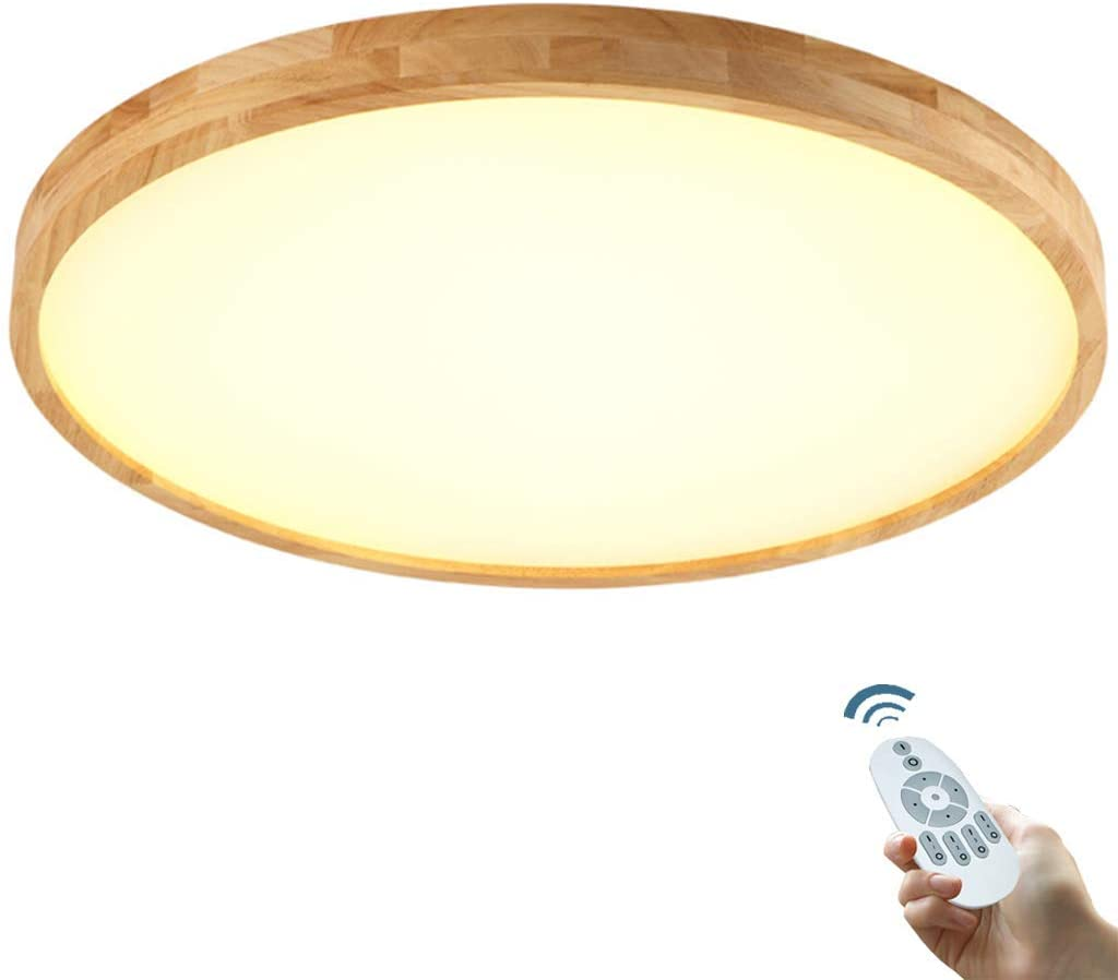 LED Ceiling Light Wooden Ceiling Lamp Slim Ceiling Luster Modern Ceiling Panel Round Illumination Simple Light Living Children's Lamp Room Bedroom Kitchen Office Interior Lamp,Dimming,40cm/24W