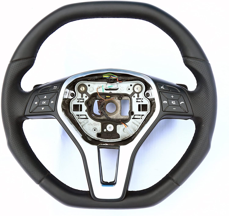 Steering Wheel Mercedes-Benz CLS-Class W218 E-Class W212 SLK-Class W172 - Unique Custom Shape - Genuine Leather