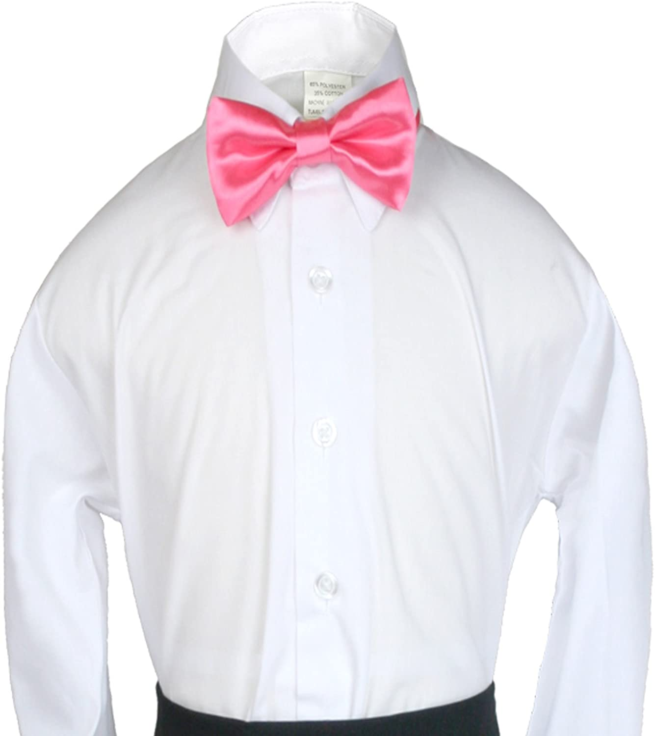 Unotux Boy Suits Tuxedo Formal Wedding Coral Red Satin Bow Tie from Baby to Teen