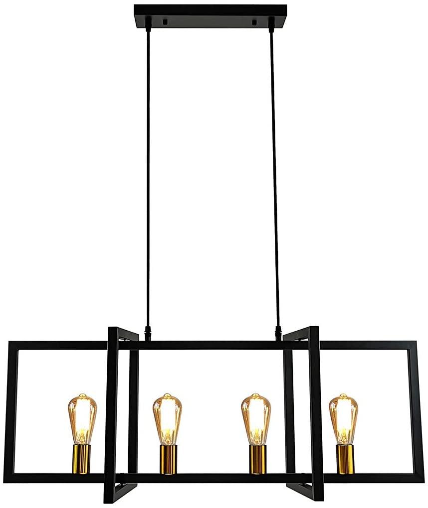 LMSOD 4-Light Kitchen Island Pendant Light Modern Chandelier Industrial Ceiling Lighting Fixture Matte Black with Antique Brass Finish