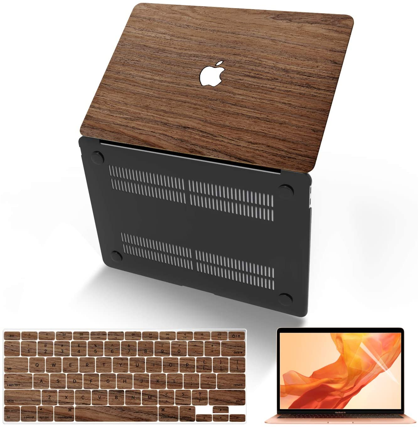 MacBook Air 13 Inch Case (Model:A1369 & A1466, Older Version 2010-2017 Release), Anban Ultra-Slim Wooden Hard Corner Protective Cover with Keyboard Cover Compatible Mac Air 13 Inch, Cherry