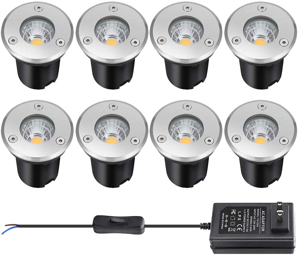 Landscape Lighting, Low Voltage Landscape Lights,12v Led Deck Lights 3W Waterproof Outdoor for Patio Pathway Ground Lawn Yard Driveway Walkway 8 Pack Warm White