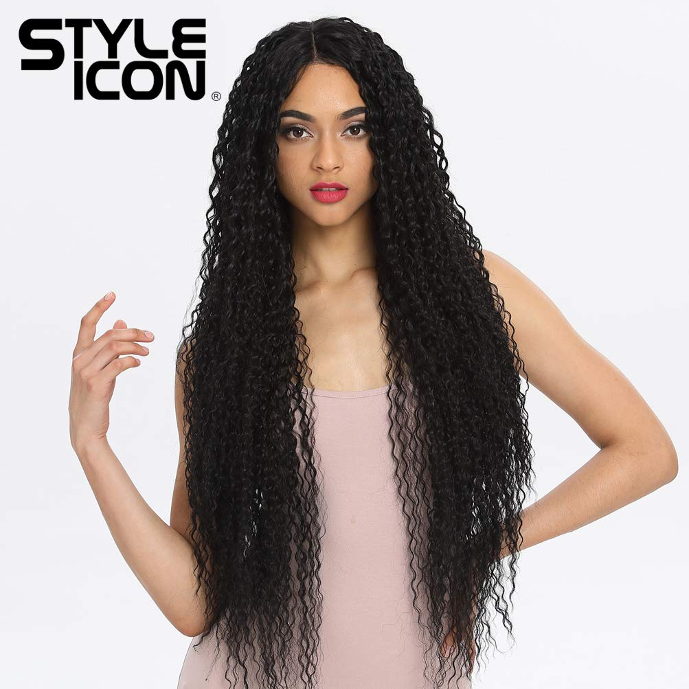"""Style Icon 38"""" Long Curly Wig Lace Front Wigs Synthetic Wigs with Baby Hair Black Wig Half Hand Tied 130% Density Hair Replacement Wigs (38"""