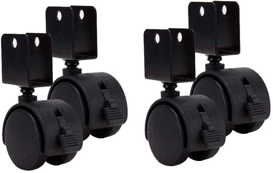 Casters ALY 1.5inch Swivel, U-Bracket with Brake Black Nylon Wheel Crib Accessories Quiet