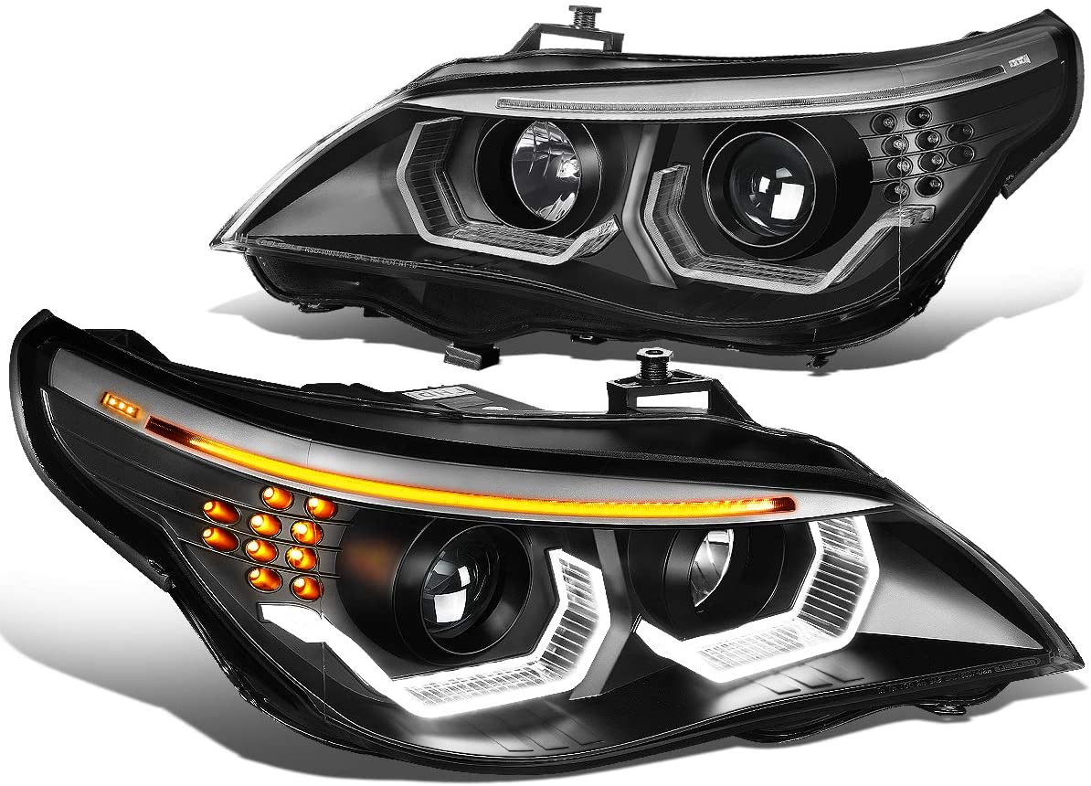 Black Housing 3D LED U-Halo HID Projector Headlight Lamps Replacement for BMW E60 5-Series 04-07 (HID Models Only)