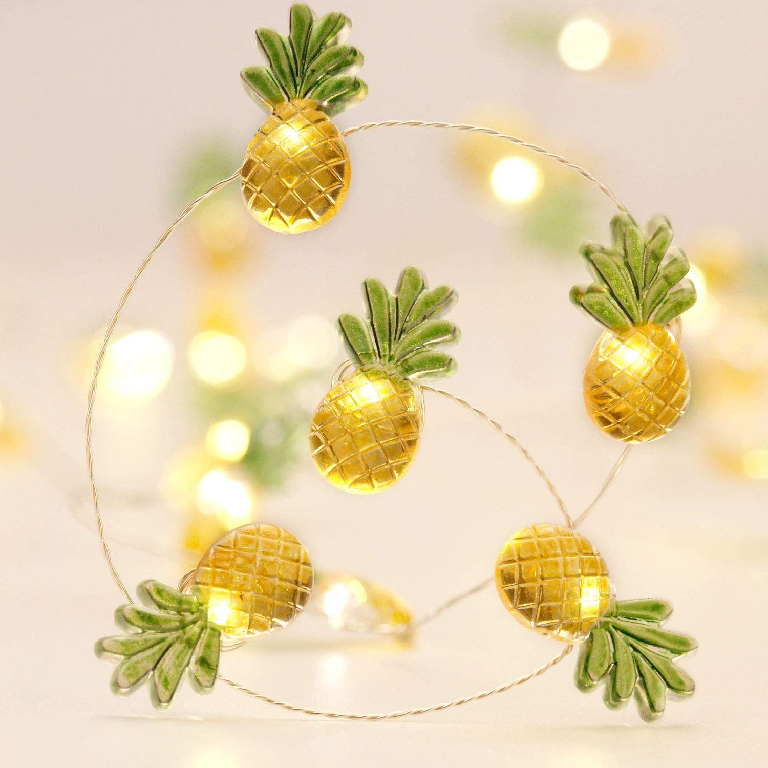 Pineapple String Lights Decoration, 10ft 40LEDs Flexible Wire with Remote and Battery/USB Powered 8 Flicker Modes for Tropical Themed Hospitalit Party, Summer, Christmas Tree Decor Bedroom Ornaments