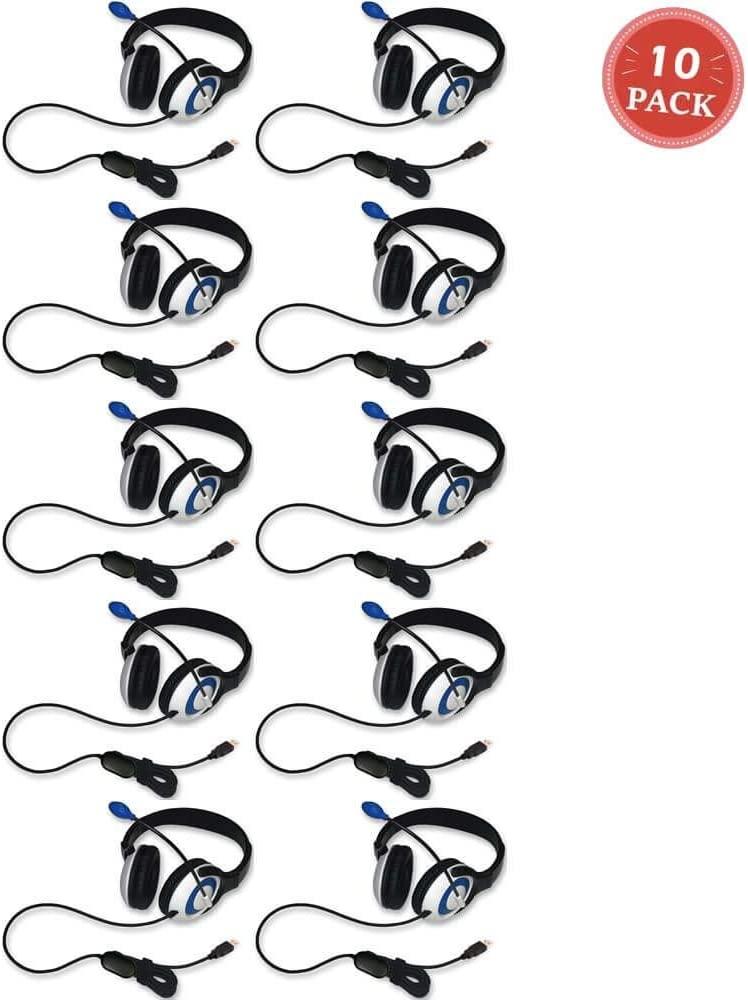 Avid AE-55 Headphone with Microphone and USB 2.0 Plug Black-Blue (10-Pack)