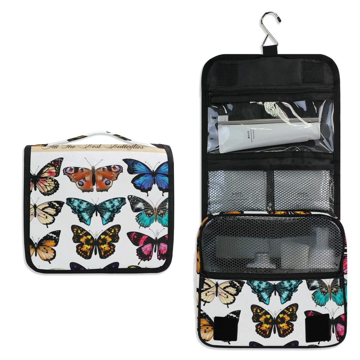 Toiletry Bag Travel Bag Hanging Hook - Coloured Butterflies Waterproof Cosmetic Bag Portable Makeup Pouch for Girls Men Women