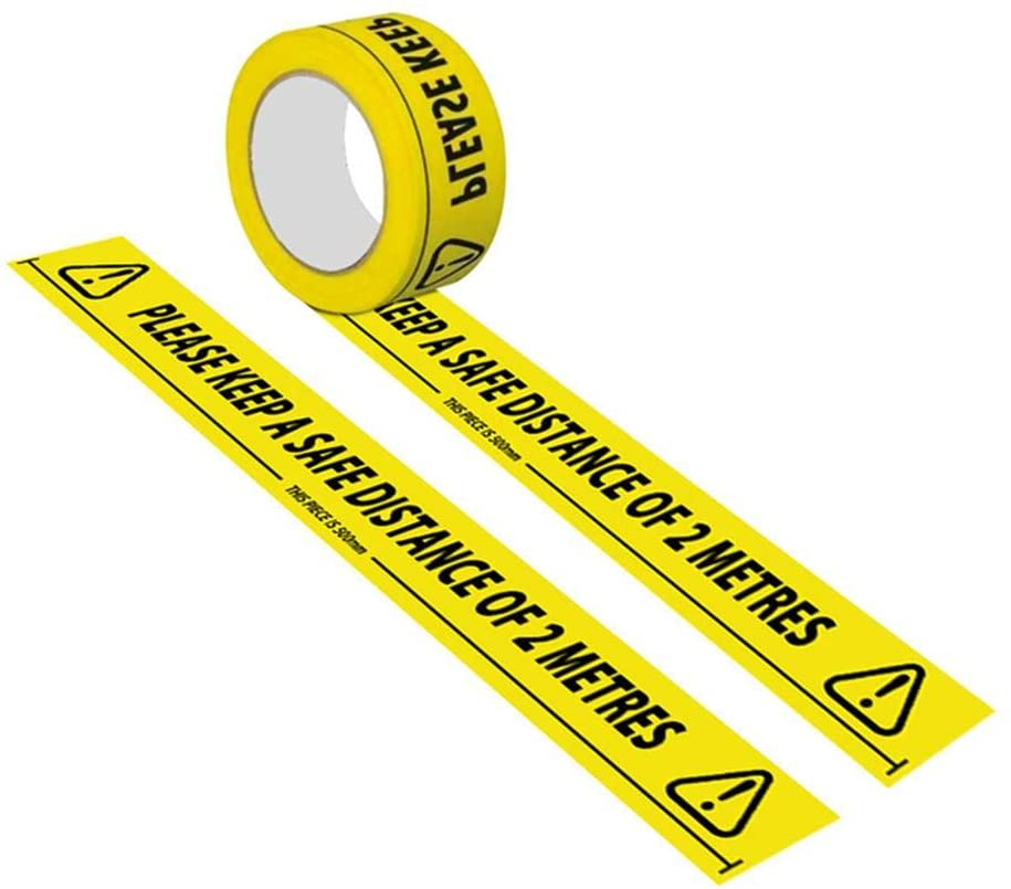 Yellow Safety Warning Tape/Caution Tape - Safety Message Maintain Distance Floor Warning Tape PVC Waterproof Wear-Resistant Warning Tape