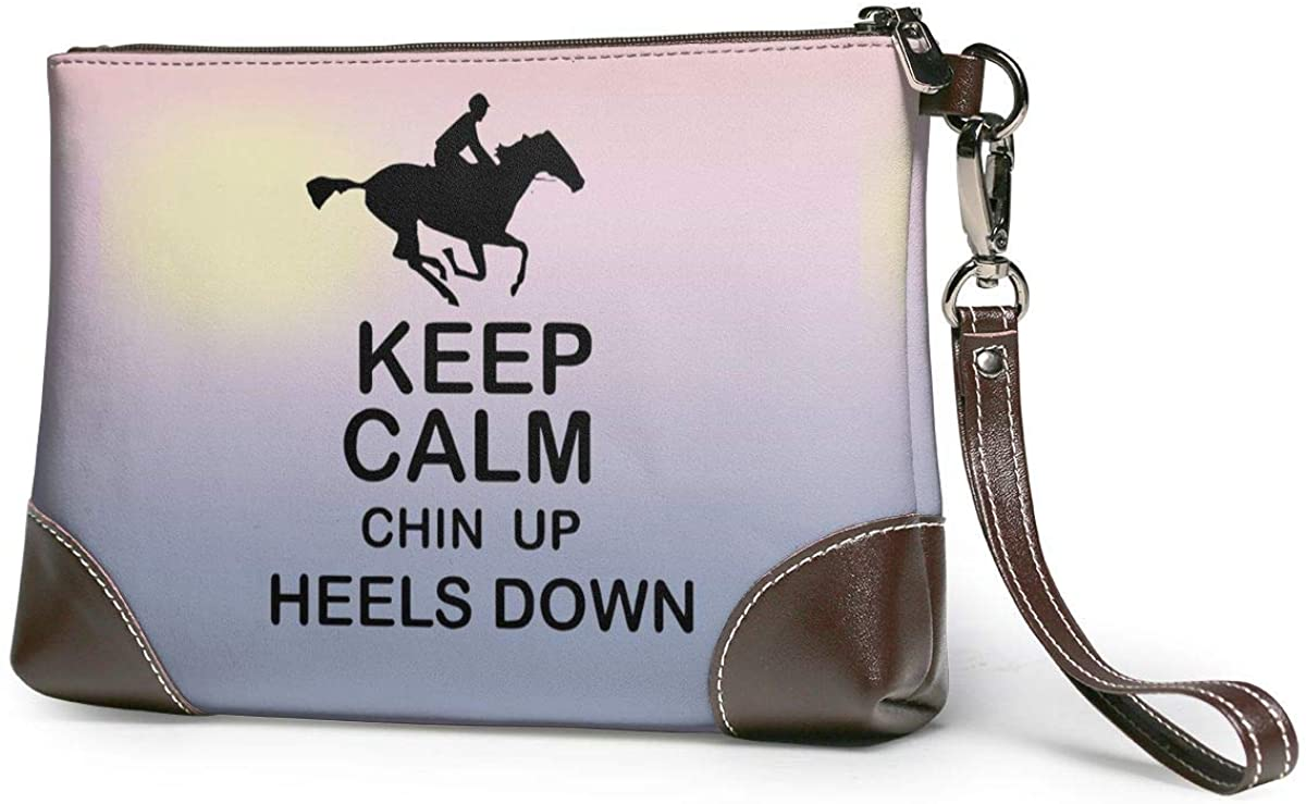 Keep Calm Chin Up Heels Down Horse Riding Leather Wristlet Clutch Bag Zipper Handbags Purses For Women Phone Wallets With Strap Card Slots