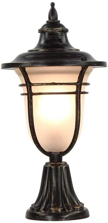 Pcqre European Elegant Luxury Landscape Light Vintage Aluminum Column Light Courtyard Waterproof Pillar Lamp Garden Pillar Lights Park Decorative Post Lamp E27
