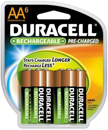 Duracell Pre Charged Rechargeable Nimh AA Batteries, 6-pack