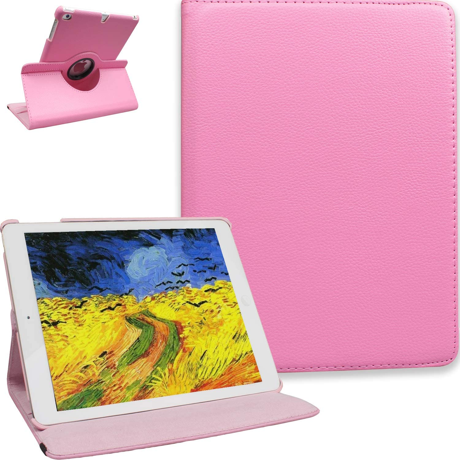 NEWQIANG iPad 5th 6th Generation Case with Bonus Screen Protector - iPad 9.7 inch Air1 2018 2017 Cover - Screen Protector, 360 Degree Rotating Stand, Auto Sleep Wake, Shockproof, (Pink)