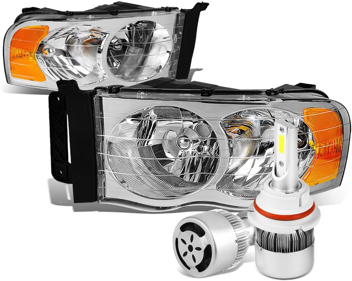 Replacement for Dodge Ram 3rd Gen Pair of Chrome Housing Amber Corner Headlight + 9007 LED Conversion Kit W/Fan