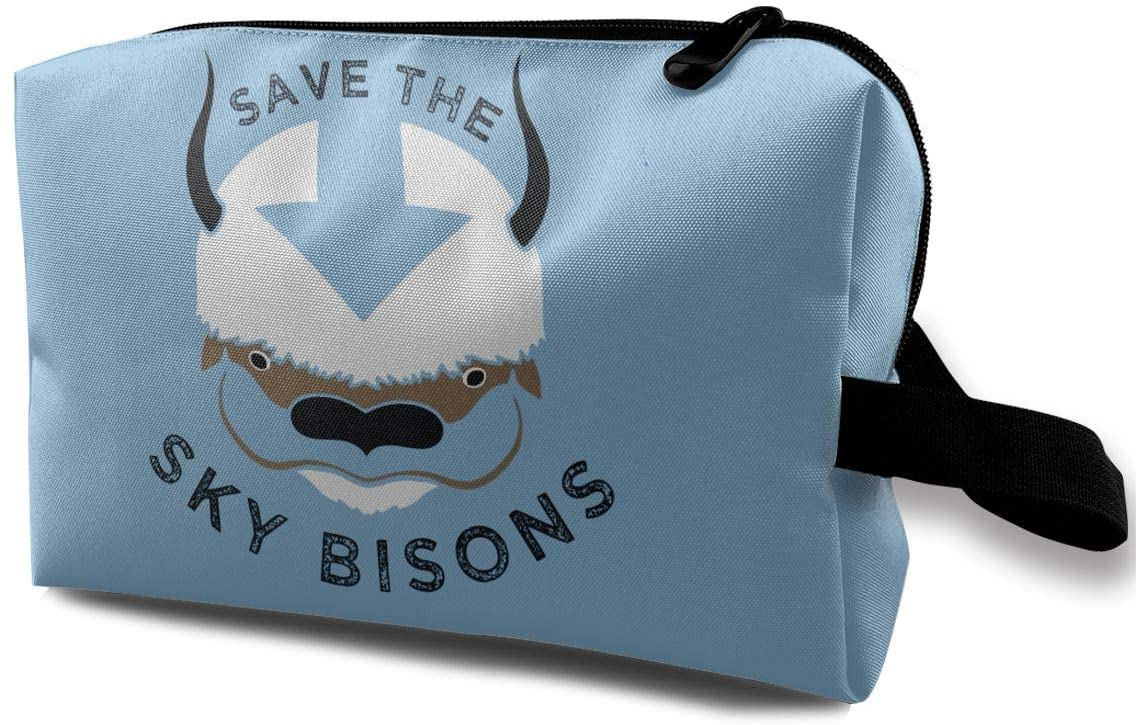 Levoncar Save The Sky Bisons with Sky Bison Head Premium Toiletry Travel Cosmetic Bag Wash