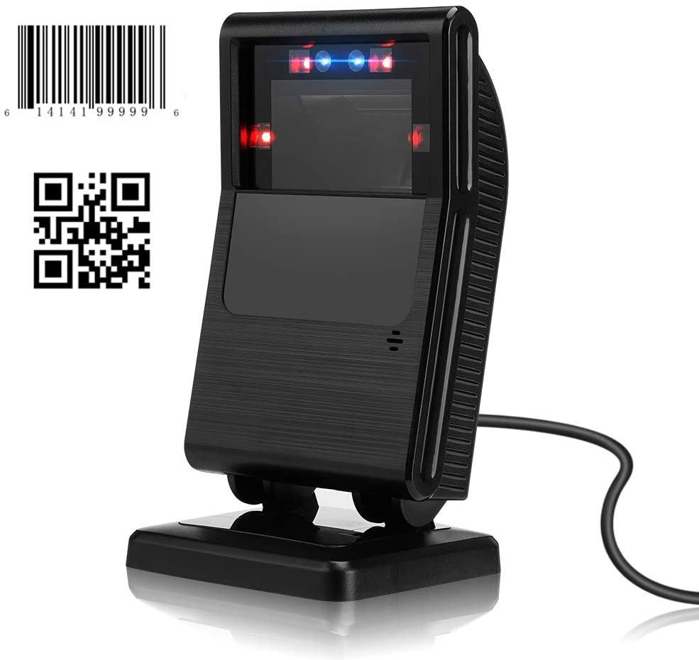1D 2D Automatic Barcode Scanner Hands Free, MUNBYN USB Wired QR Code Omnidirectional Scanner, Data Matrix PDF417 Scanner Reader for Supermarket, Retail Store, Mobile Payment, PC/Phone Screen