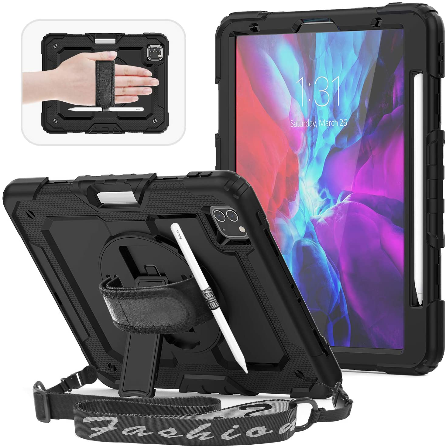 HXCASEAC for New iPad Pro 11 2020 Case, Support iPad 2nd Pencil Charging, with [Screen Protector] & [Shoulder Strap] & [ Rotating Hand Strap], Full Body Shockproof Rugged Case with Pencil Holder,Black