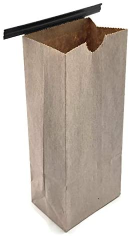 NEWPAK - Compostable Recycled Eco- Friendly Colored Kraft Paper Tin Tie Bags 1/2LB-(8oz) 3 3/8 x 2 1/2 x 7 3/4 (White)