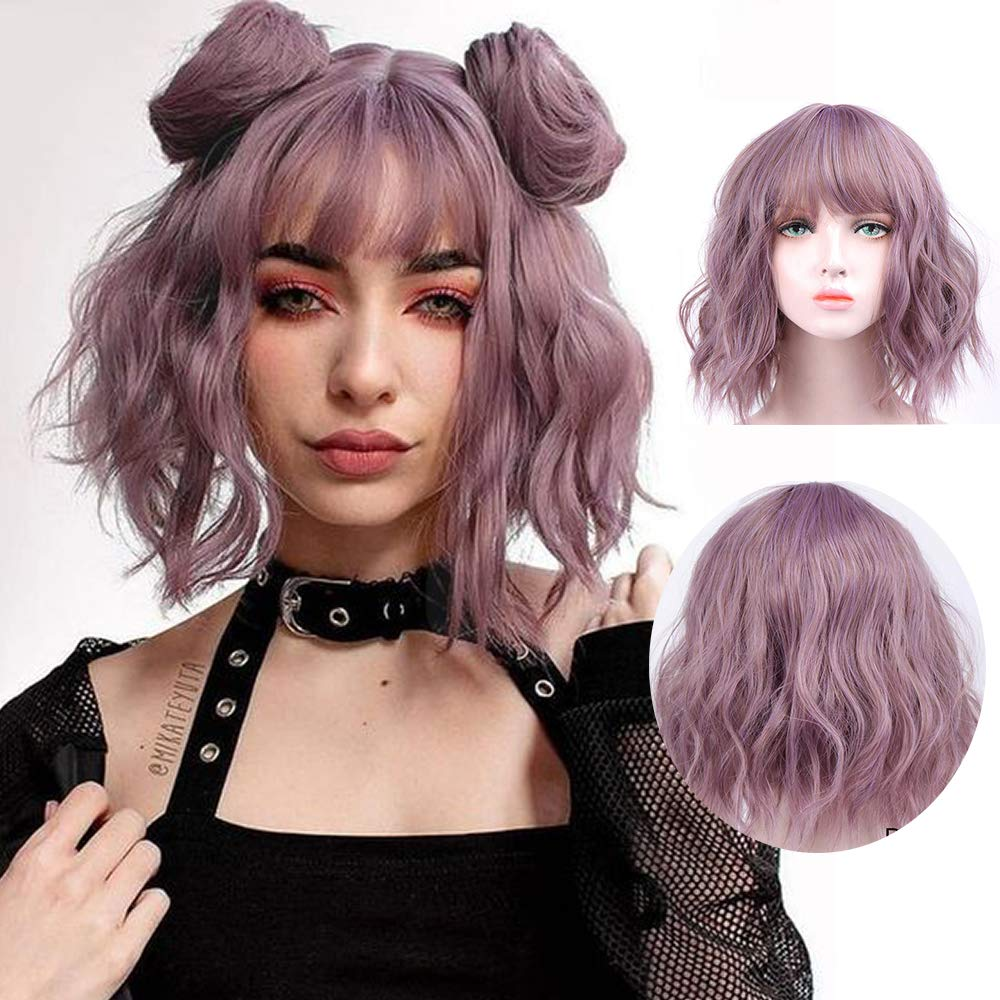 Pastel Wavy Wig With Air Bangs Women's Short Bob Pink Wig Curly Wavy Shoulder Length Pastel Bob Synthetic Cosplay Wig for Girl Colorful Costume Wigs(Wig Cap Included) (Grey Purple)