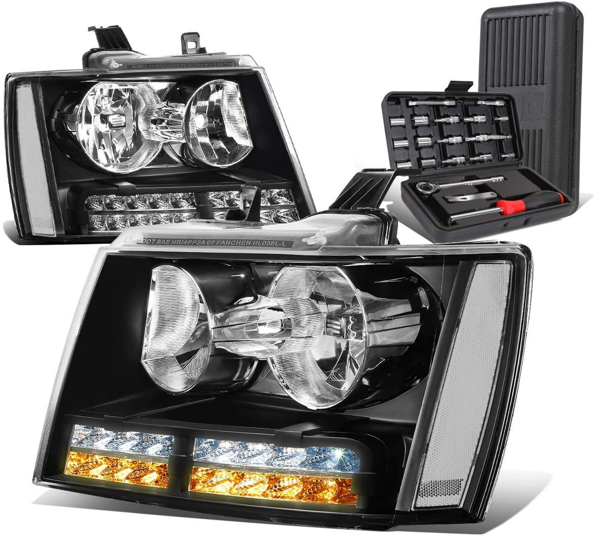 LED DRL Signal Black Housing Clear Corner Headlight Lamps+Tool Kit Replacement for Chevy Avalanche Tahoe Suburban 07-14