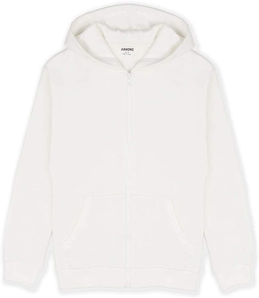 JIAHONG Unisex Kids Soft Brushed Fleece Hooded Sweatshirt Drop Shoulder Zip Up Hoodie for Boys and Girls (3-12 Years)