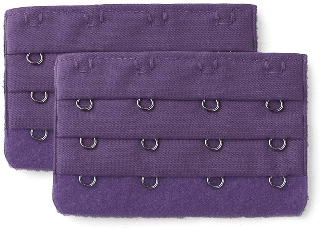 Allegra K 2 Pcs Ladies 3 x 4 Hook Bra Extenders Strap Extention Dark Purple One Size