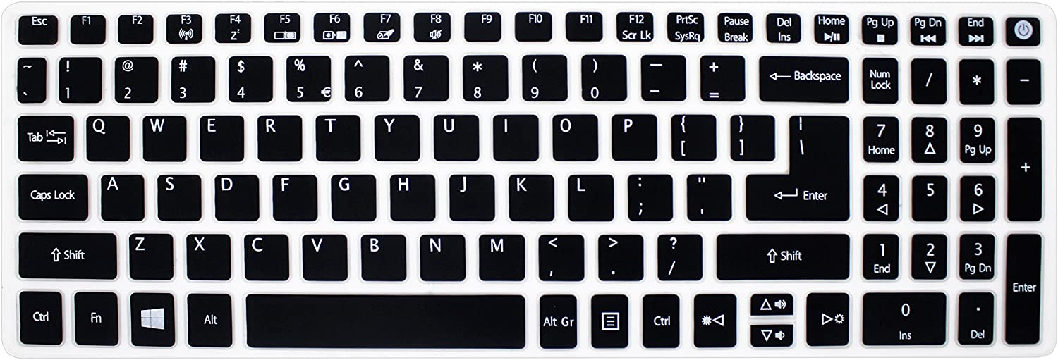 Silicone Keyboard Cover Skin for Acer Aspire V3-574 V3-575 V5-591G E5-573 E5-573G/573T E5-574G E5-575 / 575T E5-772 E5-532 ES15 ES1-572 V15 Nitro VN7-592G V17 VN7-792G F15 F5-571 F5-573G /573T (Black)