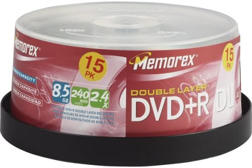 Memorex DVD+R 8.5GB Double Layer 2.4x 15 Pack Spindle (Discontinued by Manufacturer)