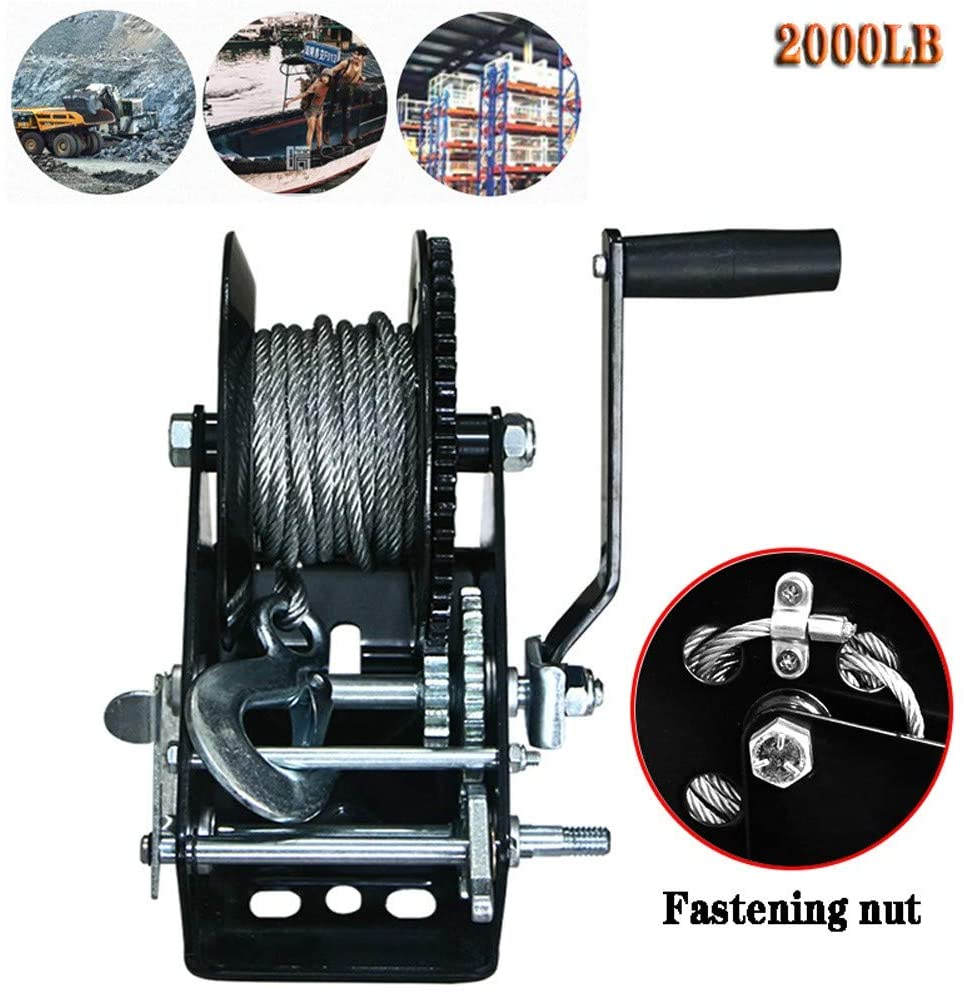 RSHJD Manual Winch for Boats, 2000lb Hand Crank Winch with Cable for Trailer, Small Towing Winch with Safety Fixing Nut for Garages Workshops Warehouses and Farms15m