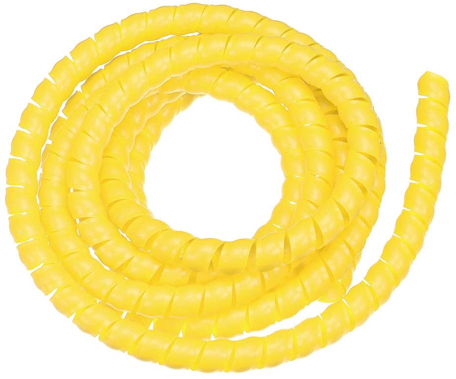 uxcell Flexible Spiral Tube Wrap Cable Management Sleeve 16mm X 19mm Computer Wire Manage Cord 3 Meters Length Yellow
