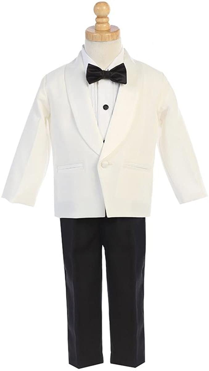 Boys Ivory Dinner Jacket w/Pants 4 PC Tuxedo