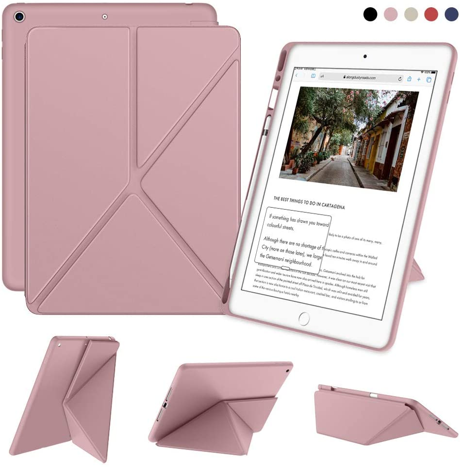 DTTO iPad 7th Generation Case with Pencil Holder, [Flexible Series] Multiple Position Stand Cover Case Soft TPU Back for iPad 10.2 inch 2019 [Auto Sleep/Wake], Rose Gold