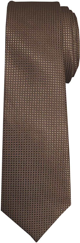 Jacob Alexander Boys' Prep Woven Subtle Mini Squares Regular Length Neck Tie - Brown