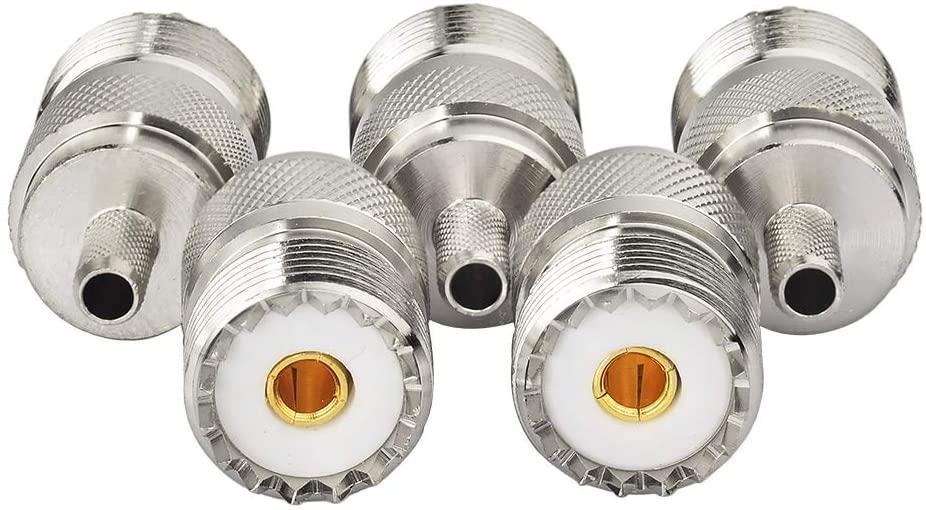 wlaniot SO239 Connectors Crimp SO-239 UHF Female Jack RF Coax Connector for RG58 RG303 RG141 RG142 RG400 LMR-195 Low Loss Coaxial Coax Jumper Cable 5 Pcs